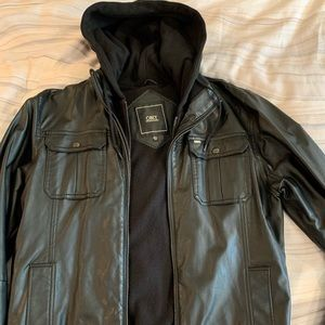 Obey Hooded Leather Bomber Jacket